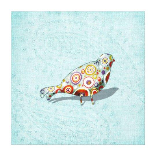 Funky Little Whimsical Doodle Bird on Aqua Paisley Canvas Print
