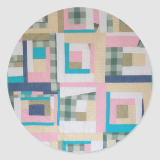 Funky Log Cabin Quilt Stickers