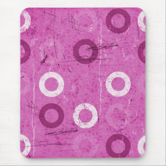 Funky Lollidots on grungy pink background Mousepad