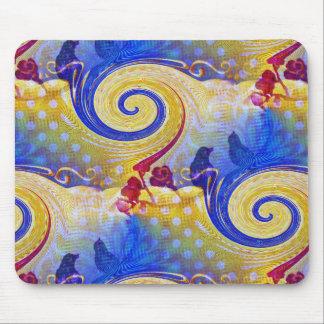 Funky Lollipop Swirl Pattern Roses Birds Mouse Pad