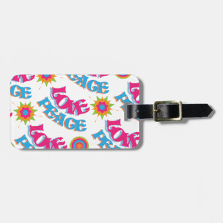 Funky Love and Peace Hippy Sixties Pattern Bag Tag