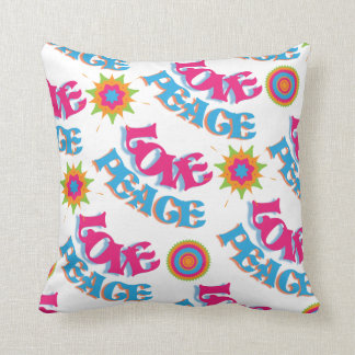 Funky Love and Peace Hippy Sixties Pattern Pillow