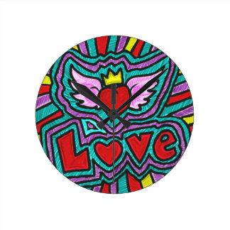 Funky Love Doodle Round Clocks
