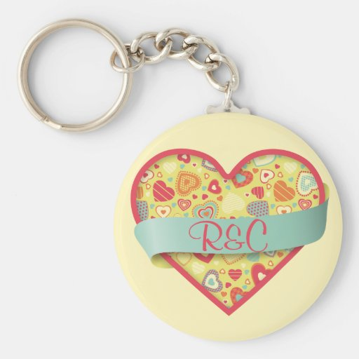 Funky Love heart with banner, customizable Basic Round Button Keychain