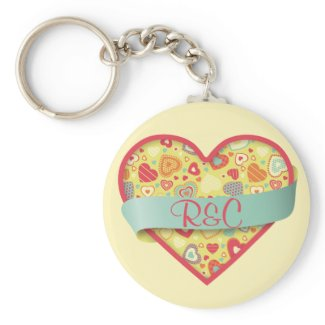 Funky Love heart with banner, customizable zazzle_keychain