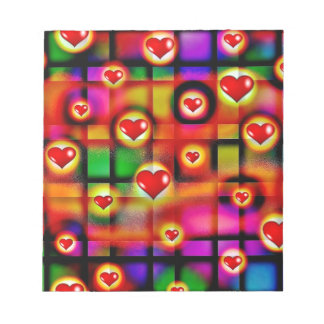 Funky Love Hearts, multicoloured, valentines day Notepad