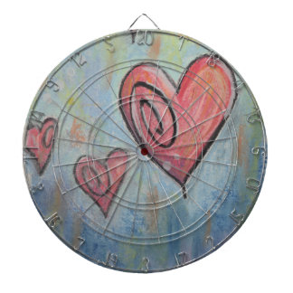 Funky Love Pastel Hearts Dartboard With Darts