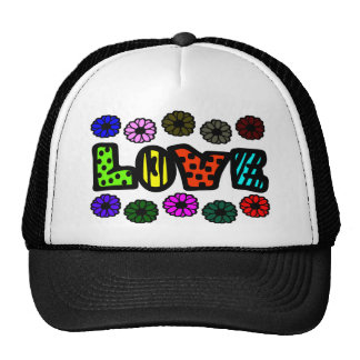 Funky Love With Patterns And Multi-Colors, Flowers Mesh Hats