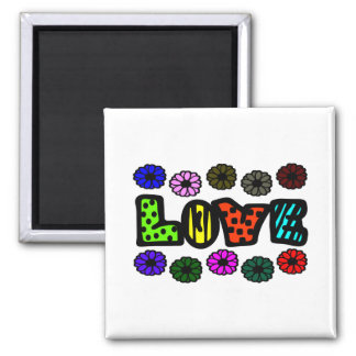 Funky Love With Patterns And Multi-Colors, Flowers Magnet
