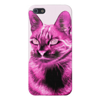 Funky magenta cat negative case for iPhone SE/5/5s