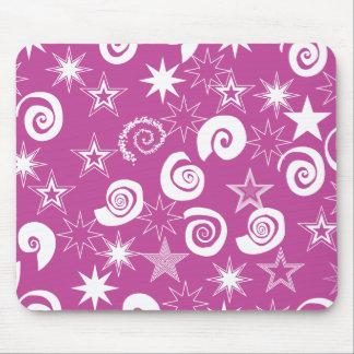 Funky Magenta Stars and Swirls Fun Pattern Gifts Mouse Pad