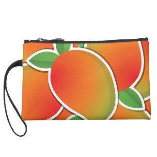 Funky mango suede wristlet wallet