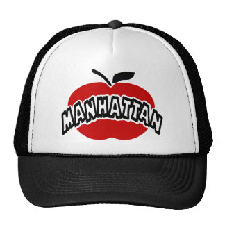 Funky Manhattan Outline Cut Out Of Big Red Apple Mesh Hat