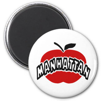 Funky Manhattan Outline Cut Out Of Big Red Apple 2 Inch Round Magnet