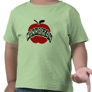 Funky Manhattan Outline Cut Out Of Big Red Apple T-shirt