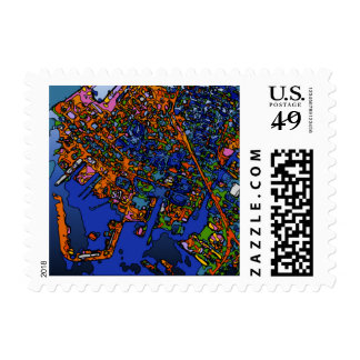Funky Maps NEW YORK Postage Stamp