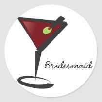 Funky martini Fun Bridesmaid Favors Classic Round Sticker
