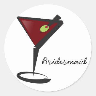 Funky martini Fun Bridesmaid Favors Classic Round Sticker