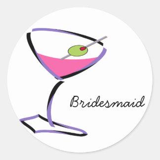 funky martini purple classic round sticker