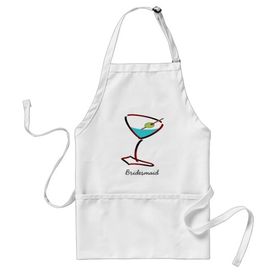 Funky martini red Bridesmaid Favors Adult Apron