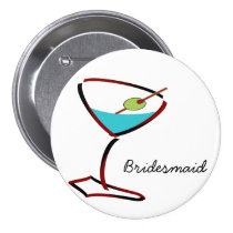 Funky martini red Bridesmaid Favors Button