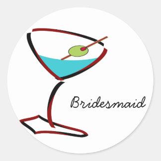 Funky martini red Bridesmaid Favors Classic Round Sticker