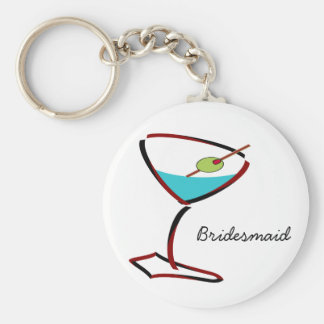 Funky martini red Bridesmaid Favors Basic Round Button Keychain