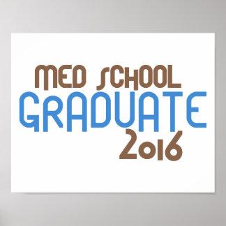 Funky Med School Graduate 2016 (Blue) Poster