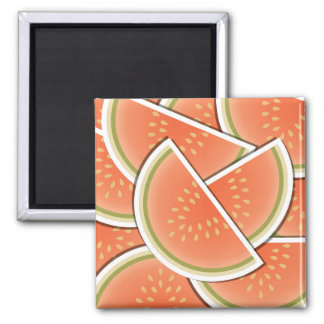 Funky melon wedges 2 inch square magnet