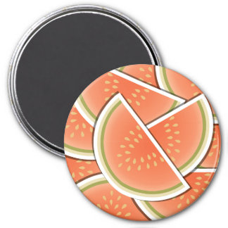 Funky melon wedges 3 inch round magnet
