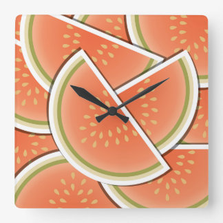Funky melon wedges square wall clock