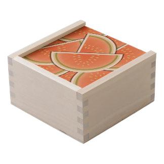 Funky melon wedges wooden keepsake box