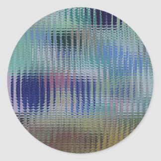 Funky Metallic Glass Abstract Classic Round Sticker