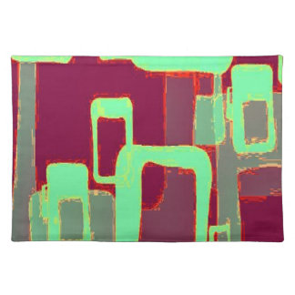 Funky Mint Geometric Squares Cloth Placemat