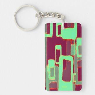 Funky Mint Geometric Squares Keychain