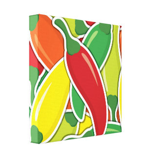Funky mixed chilli peppers canvas print