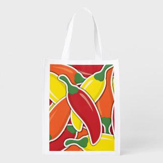 Funky mixed chilli peppers grocery bag