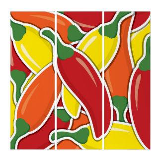 Funky mixed chilli peppers triptych