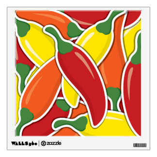 Funky mixed chilli peppers wall decal
