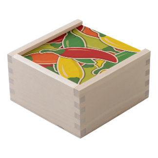 Funky mixed chilli peppers wooden keepsake box
