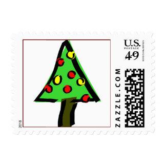 Funky mod Christmas tree Postage
