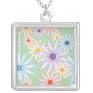 Funky Mod Flowers Square Pendant Necklace