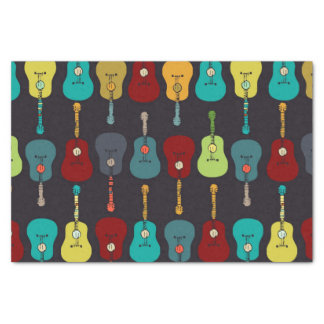 """Funky Mod Music Acoustic Guitars 10"""" X 15"""" Tissue Paper"""