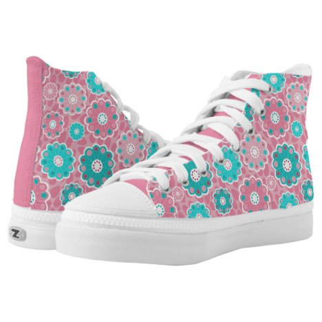 Funky mod pink and aqua floral High-Top sneakers