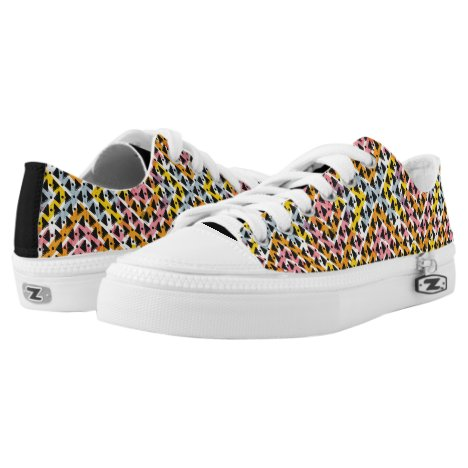 Funky modern abstract colorful weave Low-Top sneakers