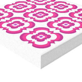 Funky Modern Bright Flowery Pink Purple White Canvas Print