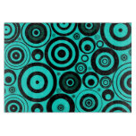 Funky Modern Retro | Teal Black Circles Pattern Cutting Board