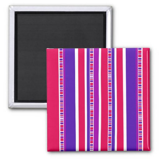 Funky Modern Stripes in Hot Pink and Purple 2 Inch Square Magnet