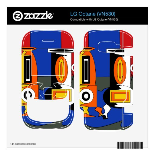 Funky modern vases in black white orange and yello decals for the LG octane