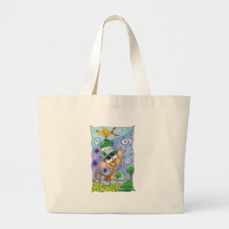 Funky Monkey and Banana Bird Large Tote Bag